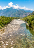 View of Maggia river, beginning of famous Vallemaggia in canton Ticino of Switzerland Stock Photography