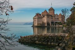 View of the magic castle of Chillon near Montreux on the Geneve lake, Switzerland. Europe Stock Photos