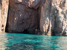 View of Magmatic vertical rocks of Calanques. Panoramic view of Magmatic vertical rocks of Calanques de Piana in Porto Bay of Corsica Island stock photography