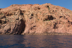 View of Magmatic vertical rocks of Calanques. Panoramic view of Magmatic vertical rocks of Calanques de Piana in Porto Bay of Corsica Island royalty free stock image