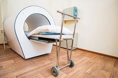 MRI machine for magnetic resonance imaging in hospital radiology. View of magnetic therapy machine in hospital. Healthcare equipment stock photography