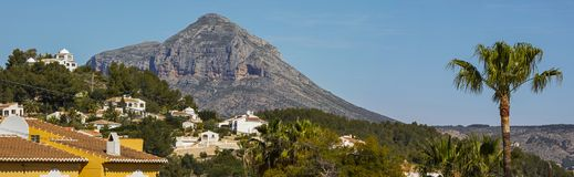 Montgo in Javea Spain. A view of the magnificent Mount Montgo, located in Javea in Spain.  It is also known as Elephant Mountain and Montgo Massif Stock Photo