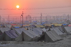 View of Maha Kumbh Mela festival camp at sunset Stock Image