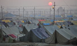 View of Maha Kumbh Mela festival camp at sunset Royalty Free Stock Image