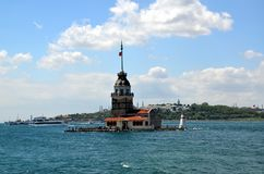View on Maiden`s tower. In Istanbul, Turkey royalty free stock images