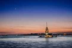 View of the maiden's town in istanbul Stock Images