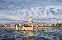 View of the Maiden tower in the early morning, Istanbul Royalty Free Stock Photos