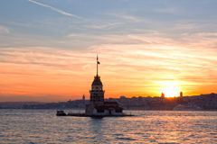 View of the Maiden tower on a sunset Stock Image