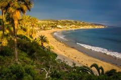View of the Main Beach Park from cliffs at Heisler Park, in Laguna Beach, California. stock image