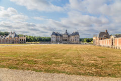 View the main building and auxiliary buildings of the estate of Vaux-le-Vicomte, France Royalty Free Stock Photo