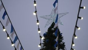 View of the main Christmas tree of the city. stock video footage