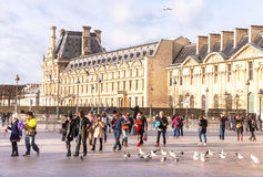 View of main courtyard of Louvre Museum in the sunny day. Paris. Royalty Free Stock Photos