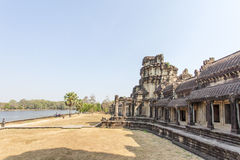 View of main entrance, Angkor Wat, Siem Riep, Cambodia. The lake in front of the Angkor Wat where tourist commonly stand here to take picture of the setting Stock Photos