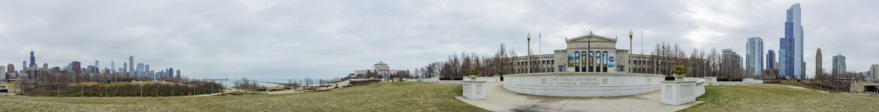 360 view of Main entrance of Shedd Aquarium and skyline Stock Image