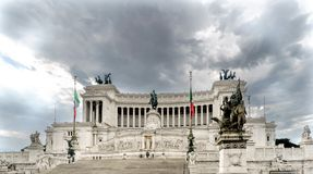 View of the main façade of the monument called. `Altare della Patria` Altar of the Motherland from Piazza Venezia in Rome, Italy stock photo