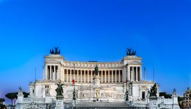 View of the main façade of the monument called. `Altare della Patria` Altar of the Motherland from Piazza Venezia in Rome, Italy royalty free stock photos