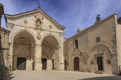 View of main facade of Saint Michael Archangel Sanctuary at Monte Sant`Angelo on Italy. Royalty Free Stock Photo