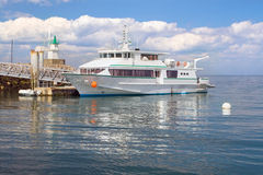 View of the main ferry of Sauzon in the island - Belle Ile en Me Royalty Free Stock Image