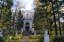 View of the main house of the estate Bykovo in autumn Moscow region royalty free stock images