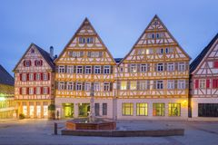 The Market of Herrenberg, Germany. View of the Main Market of Herrenberg at Dusk, Germany Stock Image