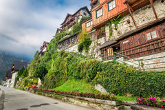 View of the main pedestrian street of Hallstatt in the morning Royalty Free Stock Image