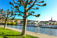 View of the Main-River banks of Wuerzburg, Bavaria, Germany Royalty Free Stock Photography