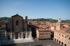 View of the main square and the church of San Petronio in Bologna Stock Photos
