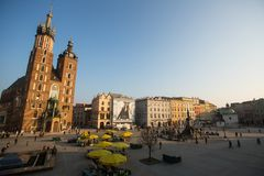 View of the Main Square. It dates to the 13th century, and at roughly 40,000 m it is the largest medieval town square in Europe. KRAKOW, POLAND - FEB 26, 2014 Royalty Free Stock Photography