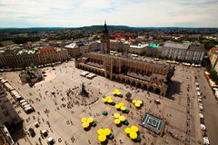 View of the Main Square in Kraków, Poland. View of the Main Square (Polish: Rynek Główny w Krakowie) is the main market square of the Old Town in Kraków stock photography