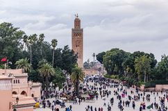 Main square inside the Medina of Marrakesh. Morocco stock image