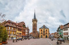 Main square in Obernai, Alsace, France. View of main square in Obernai with Kapellturm tower and town hall, Alsace, France royalty free stock images