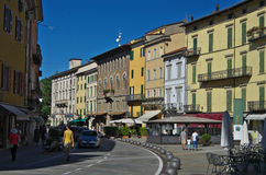View of the main square of Porretta Terme. Royalty Free Stock Photo
