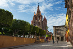 View of the main square and of the San Miguel Church in the historic center of the city of San Miguel de Allende, Mexico. royalty free stock images