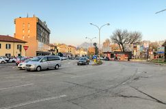 View of main Street Milano in the center of Varese, Italy royalty free stock images