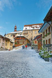 View of the main street in the swiss town Gruyeres decorated for Stock Photo