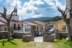 Main street of the village of Villatoro. Castilla la Mancha . Spain. View of the main street of the town of Villatoro from the church of San Miguel, you can see Stock Photo