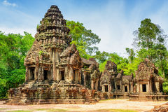 View of main tower of ancient Thommanon temple, Angkor, Cambodia. View of main tower of ancient Thommanon temple in amazing Angkor, Siem Reap, Cambodia Royalty Free Stock Image