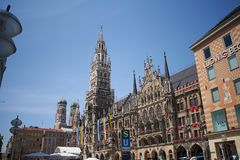 View on the main town hall with clock tower on Mary`s square in Munich, Germany royalty free stock photos