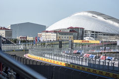 View from the main tribes in the first corner. Sochi, Russia -10 November 2014 : Formula One, Russian Grand Prix, Sochi autodrom , 16 stage Royalty Free Stock Images