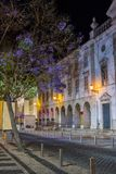 View of the main urban park of the center of Faro city, Portugal. At night Royalty Free Stock Image