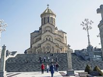 View of the majestic building of Holy Trinity Cathedral in Tbilisi royalty free stock photography