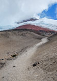 View of the majestic Cotopaxi volcano. (highest active volcano in the world) on a sunny and cloudy day Royalty Free Stock Photography