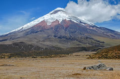 View of the majestic Cotopaxi volcano. (highest active volcano in the world) on a sunny and cloudy day Royalty Free Stock Photos