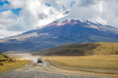 View of the majestic Cotopaxi volcano. (highest active volcano in the world) on a sunny and cloudy day Stock Image