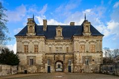 View of majestic french castle in Tanlay, Burgundy, France Royalty Free Stock Image