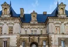 View of majestic french castle in Tanlay, Burgundy, France Royalty Free Stock Photos