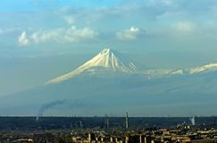 View of the majestic Mount Ararat. Royalty Free Stock Photography