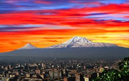 View of the majestic Mount Ararat. From Yerevan, Armenia Royalty Free Stock Image