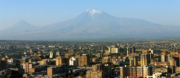 Mt. Ararat at Yerevan, Armenia. View of the majestic Mount Ararat from Yerevan, Armenia...legendary resting place of Noah`s ark Royalty Free Stock Image