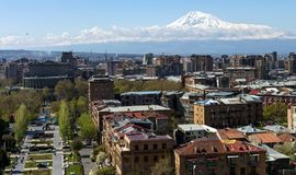 View of the majestic Mount Ararat from Yerevan. Stock Image
